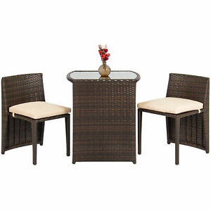 Outdoor Patio Furniture Wicker 3pc Bistro Set Glass Top Table 2 Chairs Brown
