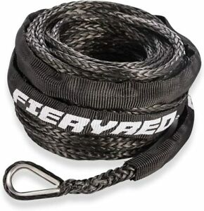 Black Synthetic Winch Line Cable Rope 3 16 X 50ft 8200lbs W Protective Sleeve