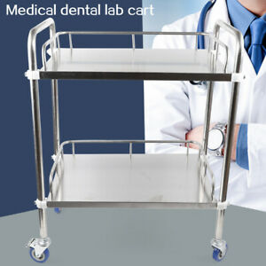 2 Tiers Medical Trolley Stainless Steel Dental Lab Mobile Rolling Serving Cart
