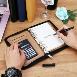 Pu Leather Cover A6 Zipper Notebook Loose leaf Business Notepad With Calculator