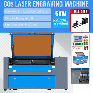 Omtech 50w 12 x20 Co2 Laser Engraver Engraving Machine Ruida With Rotary Axis B
