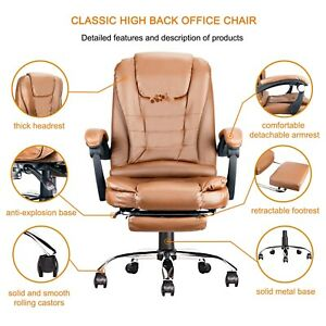 Chair Office Leather Computer Desk Ergonomic Gaming Executive Swivel Pu Back