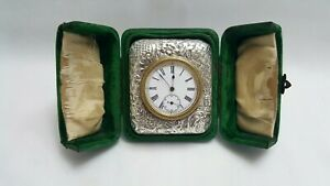 Late Victorian Sterling Silver Travelling Bedside Clock By Douglas Clock Co 1899