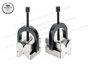 New Precision Engineers All Steel Vee Blocks Clamp Set v Block Matched Pair Usa