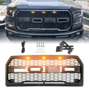 Raptor Style Matte Black Grill Upper Front Mesh Grille For 15 17 Ford F 150 F150