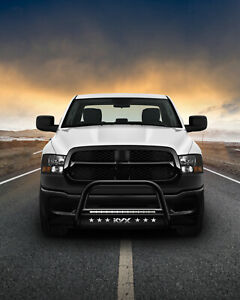 Front Bumper Bull Bar Grille Guard Black For 2019 2021 Dodge Ram 1500 With Lamp