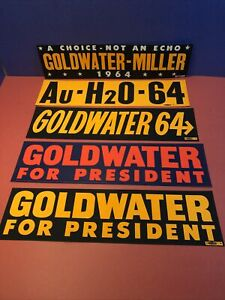 5 Diff Barry Goldwater 1964 Bumper Stickers
