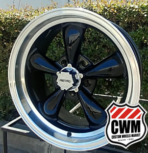 Staggered 17x8 17x9 Black Wheels Fit Ford Ranchero Torino Mustang Challenger
