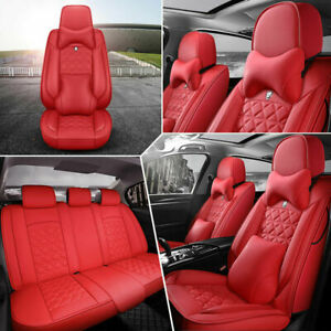 Luxury Leather Universal 5 Seats Suv Car Seat Covers Front Rear Cushion Full Set Fits Tahoe