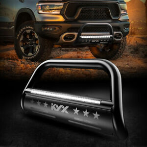 Kyx Bull Bar With Led Light Bar 3 Brush Grille Guard For 2019 20 Dodge Ram 1500