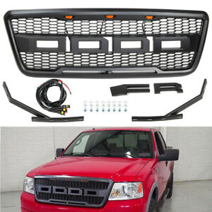 Black Grill For 2004 2008 Ford F150 Raptor Style Front Bumper Grille W Led Grill