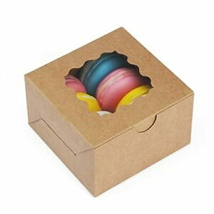 Bagdream 30pcs 4x4x2 5 Small Bakery Boxes With Window Cupcake Boxes Cookie Bo