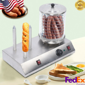 Electric Hot Dog Machine Bun Warmer Commercial Hotdogs Steamer Stainless Steel
