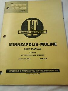 Minneapolis Moline M m Tractor I t Shop Manual mm 8 Ub Special Uts Special 1958