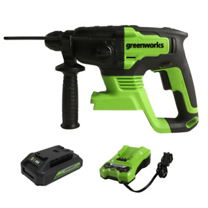 Greenworks 24v Rotary Hammer Drill Brushless Sds Plus 4 Functions W 2ah Battery