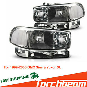 For 1999 2006 Gmc Sierra Yukon Xl Pair Headlights Assembly Bumper Lamps Black Fits More Than One Vehicle