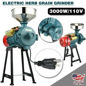 Electric Grinder Flour Mill Feed Cereals Grain Corn Wheat Wet Dry 110v 3000w