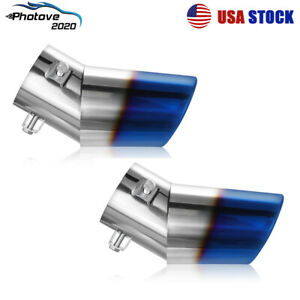 2x 2 5 Inlet 3 5 Outlet Auto Car Exhaust Pipe Tip Tail Muffler Stainless Steel