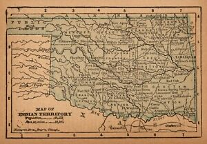 1888 Antique Indian Territory Map Miniature Vintage Map Of Oklahoma 9301