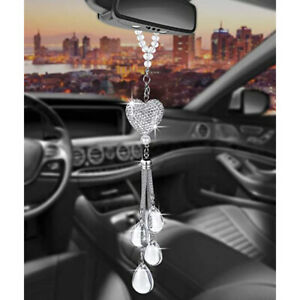 Crystal Heart Car Rearview Mirror Pendant Lucky Hanging Ornament Decor Safety
