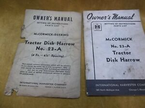 Vintage Tractor Disk Harrow No 23 a Owners Manuals