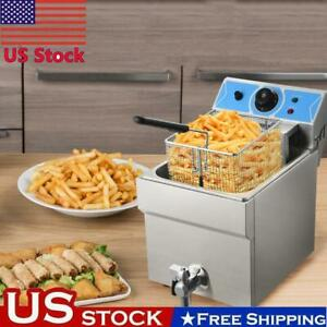 Stainless Steel Electric Deep Fryer Tank 1 Fry Basket Commercial Kitchen Hot