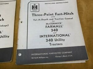 Vintage Operator s Manual For Farmall 340 Three point Fast hitch