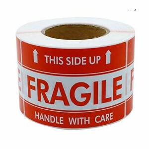 Hybsk 3x5 Inch Handle With Care This Side Up Fragile Stickers Adhesive Label