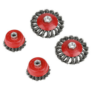 4pcs Knot Flat Cup Steel Wire Wheel Brush Sets For Angle Grinder