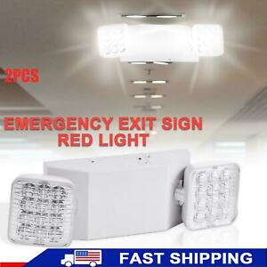 2 Pack Led Emergency Exit Light Adjustable 2 Head With Battery Back up Ul Usa