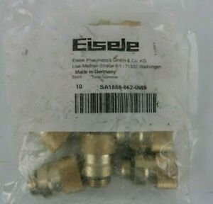 Lot Of 10 Eisele Pneumatic Screw in Plug Connectors With Release Ring 862 0609