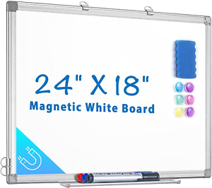 Magnetic White Board 24 X 18 Dry Erase Board Wall Hanging Whiteboard With 3 Dry