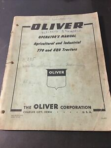 Oliver 770 880 Agricultural And Industrial Tractor Operators Manual