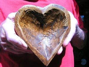 Hand Carved Wooden Heart Shaped Dough Bowl 2350