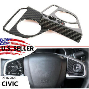 Carbon Fiber Style Steering Wheel Switch Cover Trims For Honda Civic 2016 2020