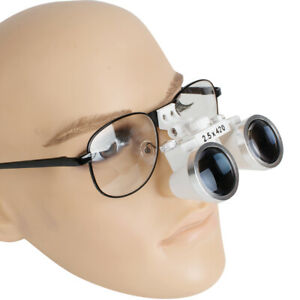 Dental Surgical Binocular Loupes 2 5x 420mm Metal Frame Protective Magnify Glass