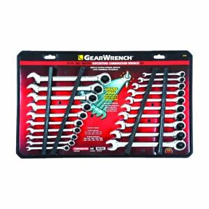 Gearwrench 12 Point Metric And Sae Ratcheting Combination Wrench Set 20 Pc