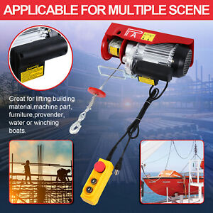 Electric 300 600kg Hoist Winch Lifting Engine Crane Hook Hanging Cable Pulley