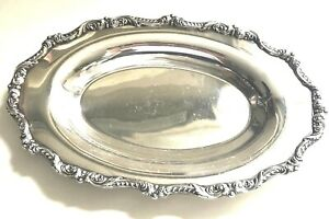 Vintage Poole Serving Tray Oval Ornate Silver Plate English Epns 5006