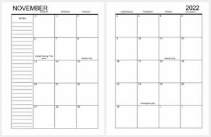 2022 Monthly Calendar Refill For Planners Discbound 8 Disc