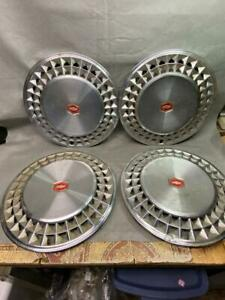 Vintage Chevrolet Bow Tie 14 Inch Hub Caps Red Center Set Of 4 Oem