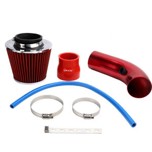 Universal Car Cold Air Intake Filter Induction Pipe Power Flow Hose System Red
