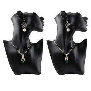 2pieces Pendant Jewelry Head Mannequin Bust Store Display Resin Material