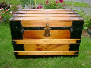 Antique Steamer Trunk Wood Chest Barnard Bros Flat Top Wood Coffee Table