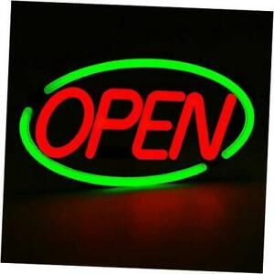 Oval Shaped Led Tube Neon Open Sign large Size 24 X 12 Green red