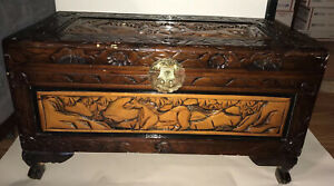 Hand Carved Wood Chest Camphor Wild Horses Design