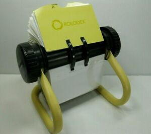 Vintage 1990 s Rolodex Rotary Card File W Dividers Yellow Nice Condition