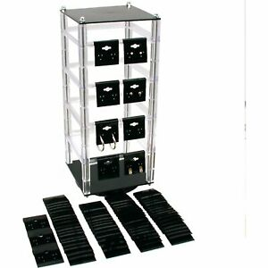 Revolving Rotating Earring Jewelry Display Stand With 100 2 Black Earring Cards