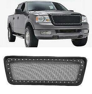 Upper New Front Abs Plastic Stainless Steel Mesh Grille Fit Ford F 150 2004 2008