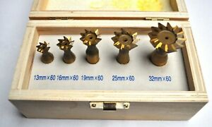 Hss Dovetail Milling Cutters 60 Set Of 5 tin Coated